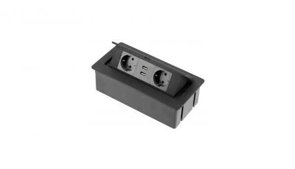 Priza incorporabila in blat 2xSchuko, 2 USB, Cablu inclus, Negru Mat 0