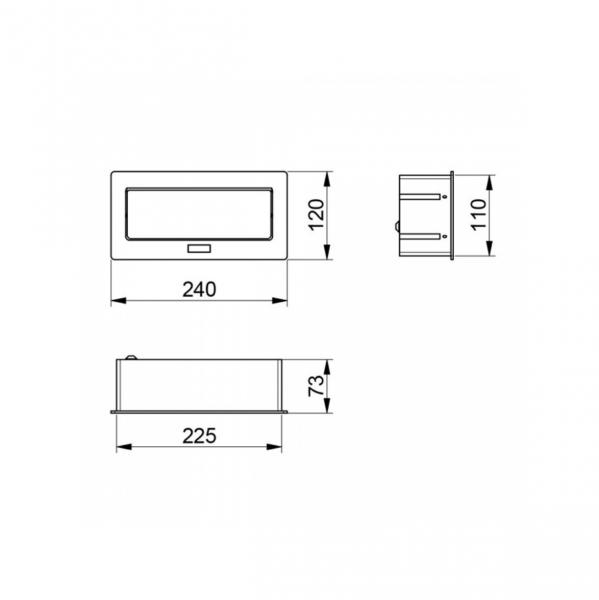 Priza incorporabila in blat 3xSchuko, cablu 1.5 m inclus, negru mat [1]