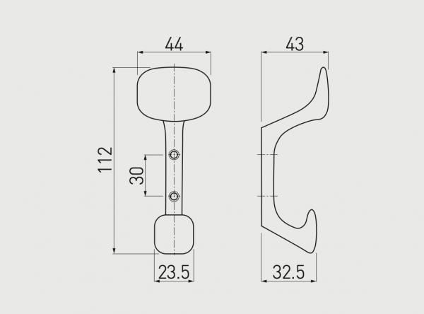 Cuier Toledo H112 mm, Negru Mat 1