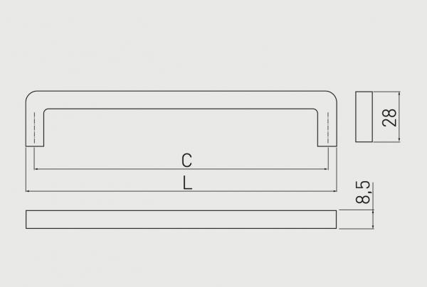 Maner mobila Bagio 128 mm, argintiu antic [1]
