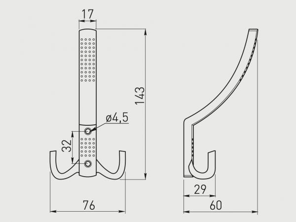 Cuier dublu K23-A0, Negru Mat 2