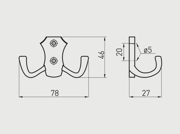 Agatatoare cuier K24-B0 78x46 mm, 2 agatatori, negru mat 1