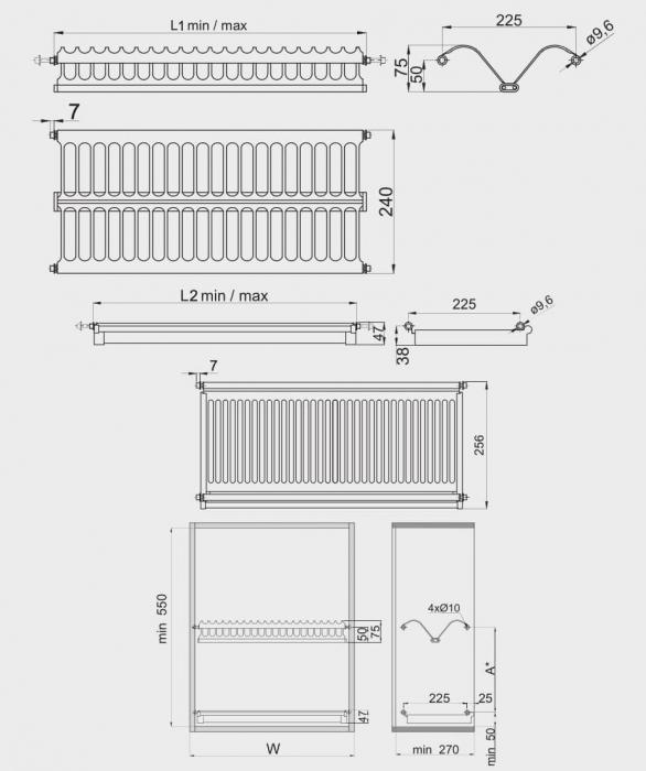 Scurgator (picurator) vase, inox, doua rafturi, corp mobilier 500 mm 1