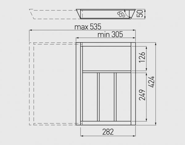 Suport tacamuri ajustabil, 535x424 mm, fag 3