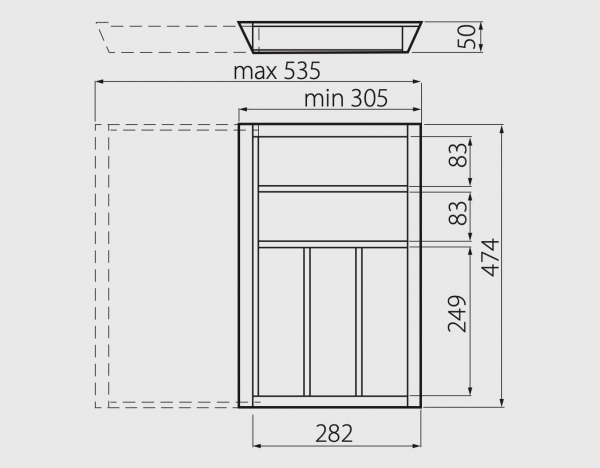 Suport tacamuri ajustabil, 305x474 mm, fag 3