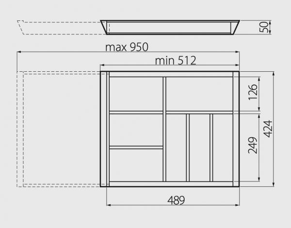 Suport tacamuri ajustabil, 512x424 mm, fag 3