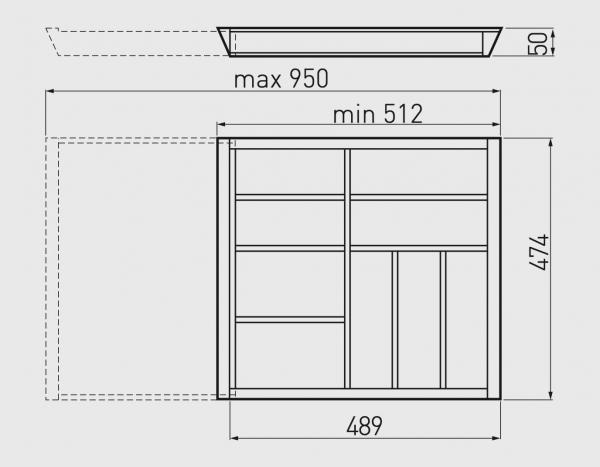 Suport tacamuri ajustabil, 512x474 mm, fag 3