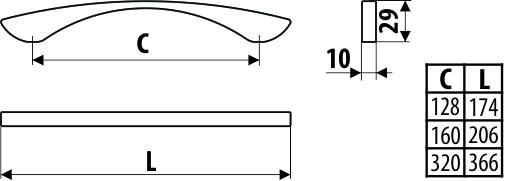 Maner mobila UU03 128 mm, otel [2]