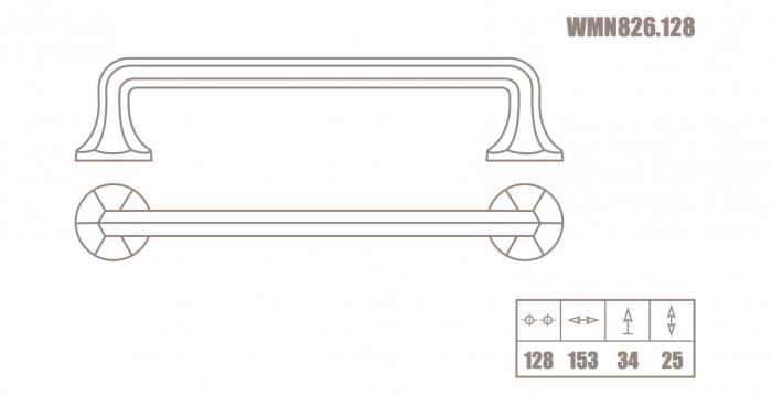Maner mobila WMN826 128 mm, negru mat [2]