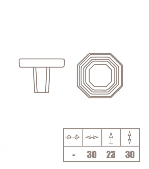 Buton mobila WPO824 30x23 mm, alb mat [2]