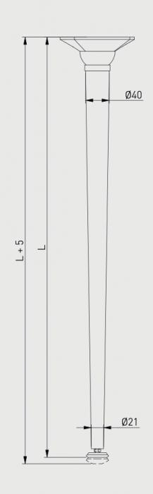 Set 4 picioare pentru birou, gama X-Line, ajustabile, H 870 mm, Negru Mat [3]
