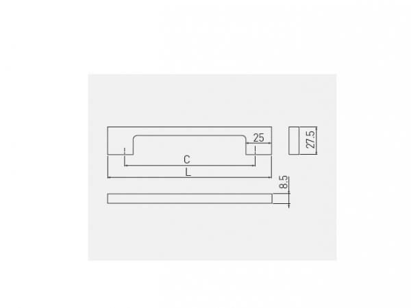 Maner mobila ZAMAK 128 mm, Negru Mat 1