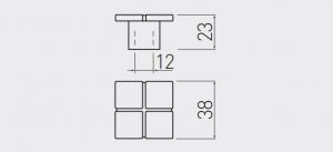 Buton mobila Aztek 38x38 mm, alama antichizata [1]