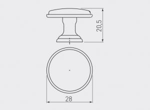 Buton mobila Cento D28 mm, negru mat1