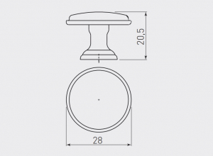 Buton mobila Cento D28 mm, argintiu antichizat [2]