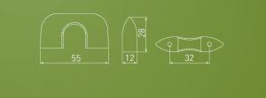 Buton Milan, cromat, 55x28 mm1