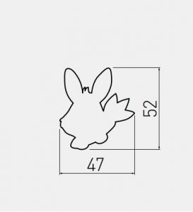 Buton mobila copii - Iepuras Roz 47x52 mm [1]