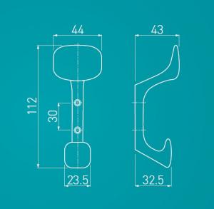 Agatatoare cuier Toledo 44x112 mm, doua agatatori, otel periat2