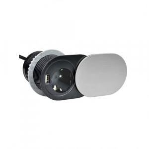 Priza SLIDE incorporabila in blat 1xSCHUKO, 1xUSB 5V 2.4 A, cablu inclus, inox, 60 mm1