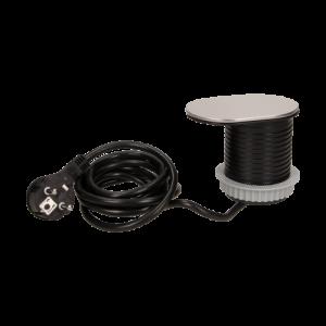 Priza SLIDE incorporabila in blat 1xSCHUKO, 1xUSB 5V 2.4 A, cablu inclus, inox, 60 mm2
