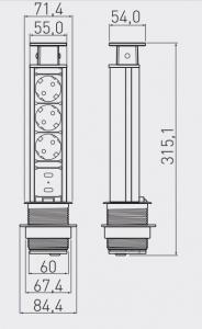 Priza incastrabila rotunda 3xSchuko, 2 USB, argintie, 60 mm1