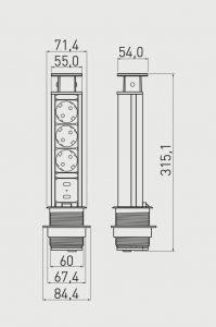 Priza incastrabila rotunda 3xSchuko, 2 USB, negru, 60 mm1