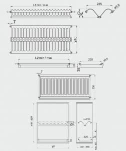 Scurgator (picurator) vase, inox, doua rafturi, corp mobilier 600 mm1
