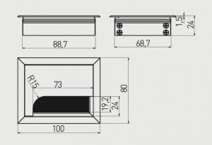 Trecere cabluri MERIDA 80x100 mm, Negru1