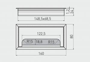 Trecere cabluri MERIDA 80x160 mm, negru mat [1]