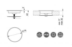 Incarcator wireless LUX, incastrabil in blat, cablu USB 2m1