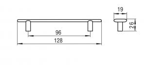 Maner mobila FURCULITA 96 mm, alama antichizata, 1051-1281