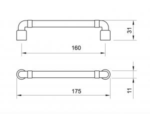 Maner mobila WMN785 160 mm, Negru Antic1