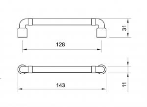 Maner mobila WMN785 128 mm, Negru Antic1