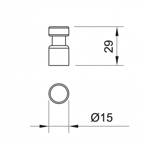 Buton mobila Negru Antic 29x15 mm, WPO7851