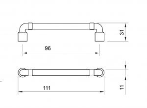 Maner mobila WMN785 96 mm, Negru Antic1