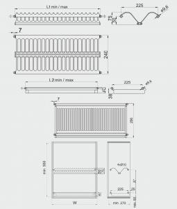 Scurgator (picurator) vase, inox, doua rafturi, corp mobilier 700 mm1