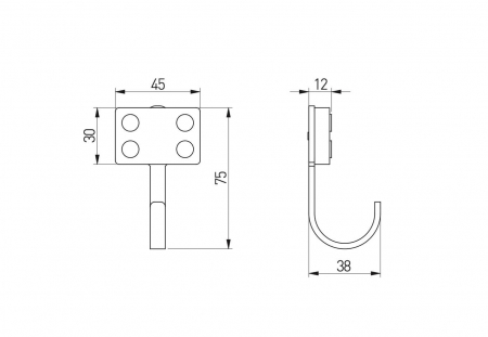 Agatatoare cuier copii BLOCK 45x75 mm, verde [1]
