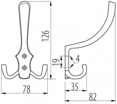 Agatatoare cuier K24 A0, 78x126 mm, 3 agatatori, aluminiu [2]