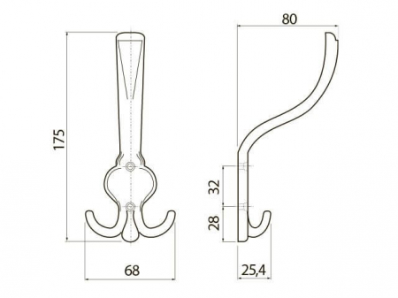 Agatatoare cuier ORVIETO A0 68x175 mm, 3 agatatori, alama antichizata [1]