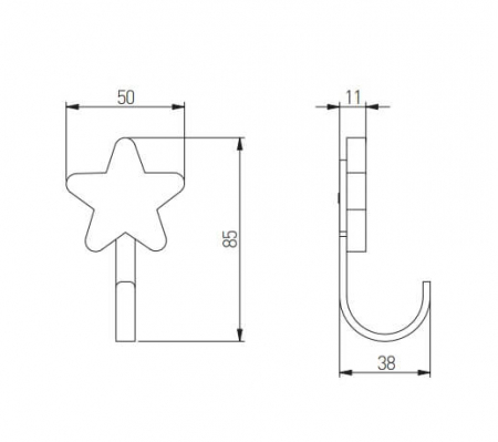 Agatatoare cuier copii STAR 50x85 mm, galben [1]