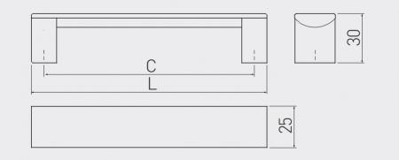 Maner mobila ARES 96 mm, negru mat [2]