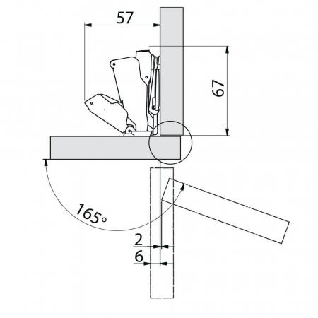 Balama mobila 165° cu amortizare [1]