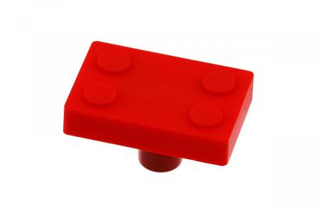 Buton mobila copii BLOCK 45x30 mm, rosu [0]