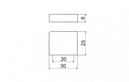 Buton mobila K705 30x25 mm, cupru [1]