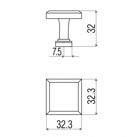 Buton mobila KR60 32x32 mm, cupru antichizat [1]