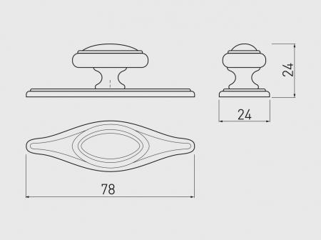 Buton mobila cu sild WP1152, alama antichizata [1]