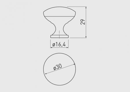 Buton mobila TERNI 30x29 mm, alb mat [2]
