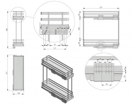 Cos Jolly MOVIXPRO antracit pentru corp mobilier de 200 mm, glisiera laterala cu amortizare [4]