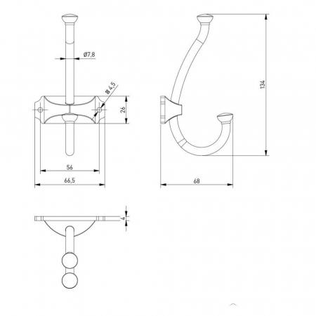 Agatatoare cuier CRAFT 134x66 mm, 2 agatatori, argintiu antichizat2