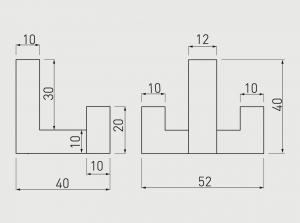 Agatatoare cuier K2202 52x40 mm, 2 agatatori, crem1